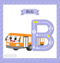 Letter b uppercase tracing bus vector
