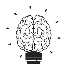 lightbulb brain icon vector image