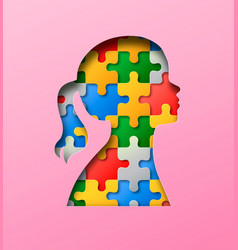 little girl colorful puzzle head paper cut concept vector image