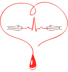Logo associated with blood donation hands of vector