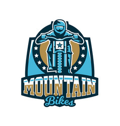 logo emblem of the rider riding a mountain bike vector image
