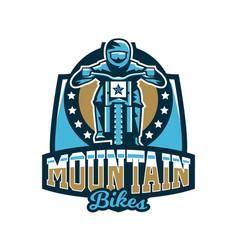 Logo emblem rider riding a mountain bike vector