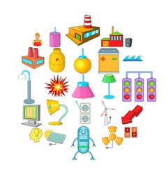 Luminary icons set cartoon style vector