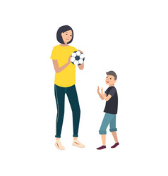 Mom and son playing football or soccer mother and vector