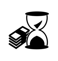 money stack and sand clock icon icon simple vector image