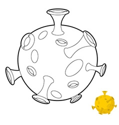 Moon coloring book Space Planet with craters vector