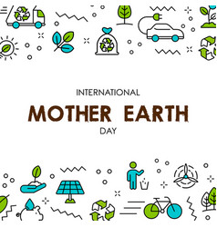mother earth day card of nature care icons vector image