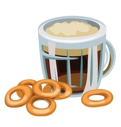 Mug of beer with bagel on white background vector
