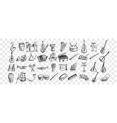 musical instruments doodle set vector image