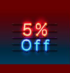 neon frame 5 off text banner night sign board vector image