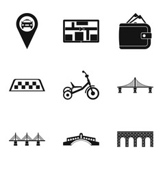 other side icons set simple style vector image