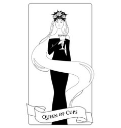 outlines queen of cups with crown roses and vector image