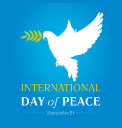 peace dove with olive branch for international pea vector image