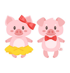 Pig character boy and girl vector