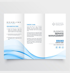 Professional tri-fold brochure design with blue vector