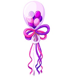 Purple balloons and ribbon vector