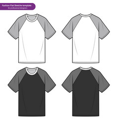 Raglan sleeve tee shirt fashion flat technical vector