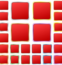 Red blank square metal button set vector