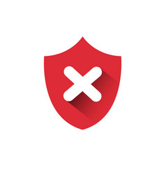 Red shield icon access denied protection vector