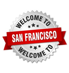 San Francisco 3d silver badge with red ribbon vector