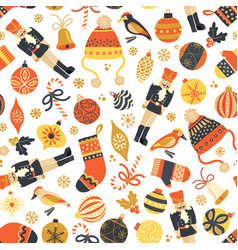 seamless retro christmas pattern background vector image