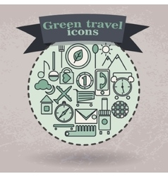 set green icons for travel vector image