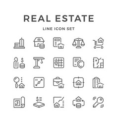 set line icons of real estate vector image