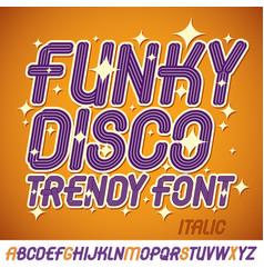 Set of bright italic upper case funky english vector