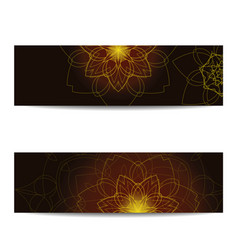 Set of empty banners with shiny floral mandalas vector