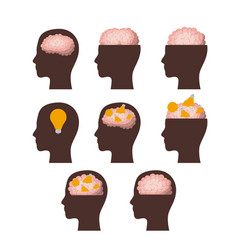 set of heads brown silhouettes with brains in vector image