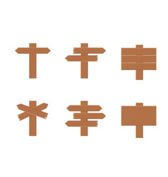 set wooden signs in flat style vector image