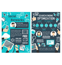 social network and seo optimization flat banner vector image