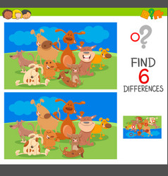 Spot the differences with dog animal characters vector