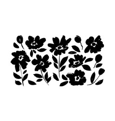 spring flowers hand drawn silhouettes set vector image