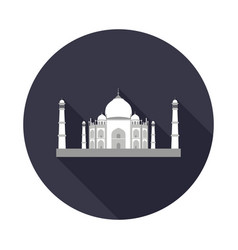 Taj mahal flat icon vector