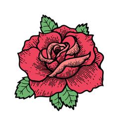 Tattoo rose flower art vector