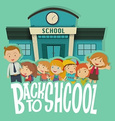 Teacher and students at the school vector image