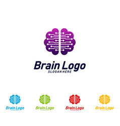 tech brain logo design mind technology concept vector image