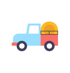 truck with hay for working on farm icon vector image