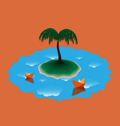 two paper boat near the island with palm tree vector image