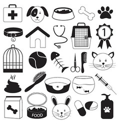 Veterinary Clinic and Pet Icons Set vector image