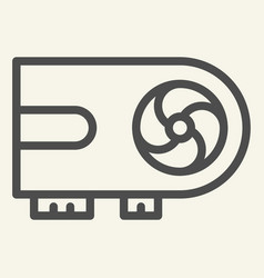 Video card line icon chip vector