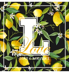 Vintage Lemons Leaves and Flowers Graphic vector image