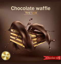 Waffle with chocolate filling wrapped in spiral vector