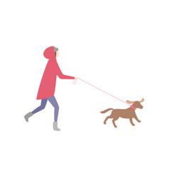 Woman running with dog on leash pet and owner vector