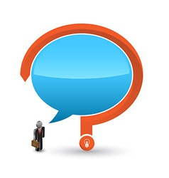 Business man 3D icon with speech and question mark vector image