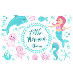 cute set little mermaid and underwater world vector image vector image