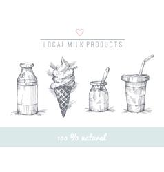 Dairy set vector image vector image