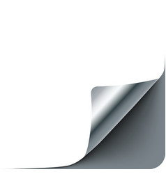 Empty paper sheet with silver gray curl corner vector