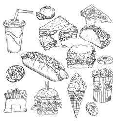 fast food background snack collection junk food vector image